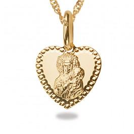 Złoty komplet medalik z łańcuszkiem Serce
